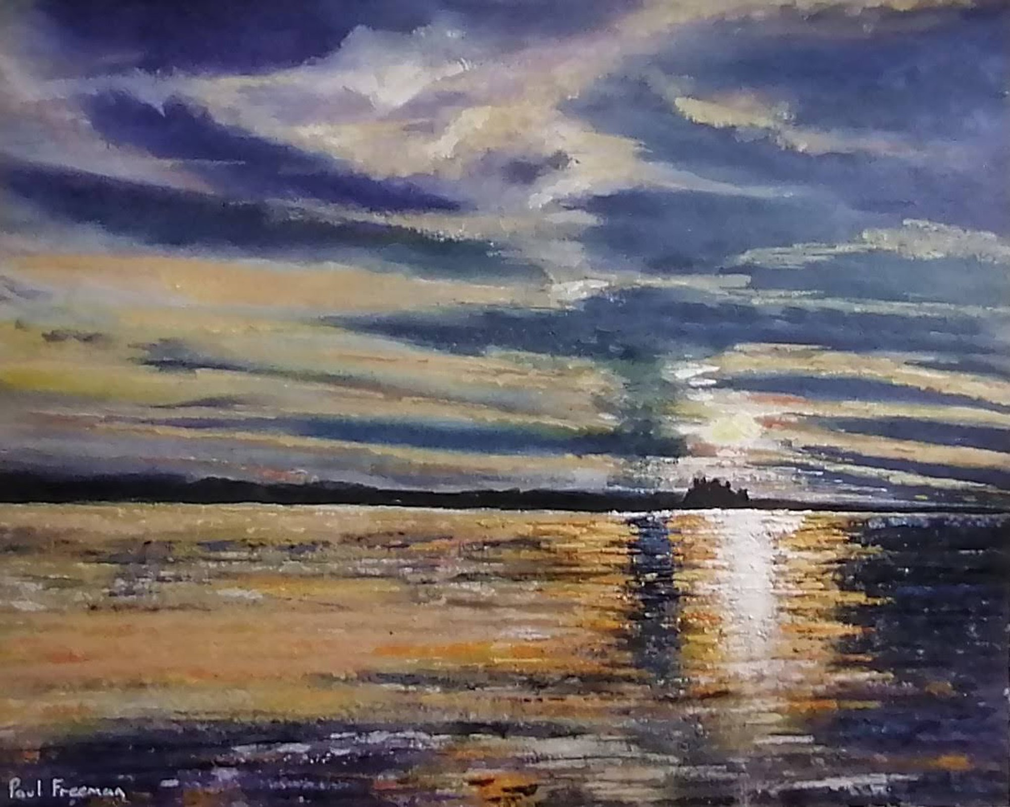 sun setting over banburgh Original Landscape Art