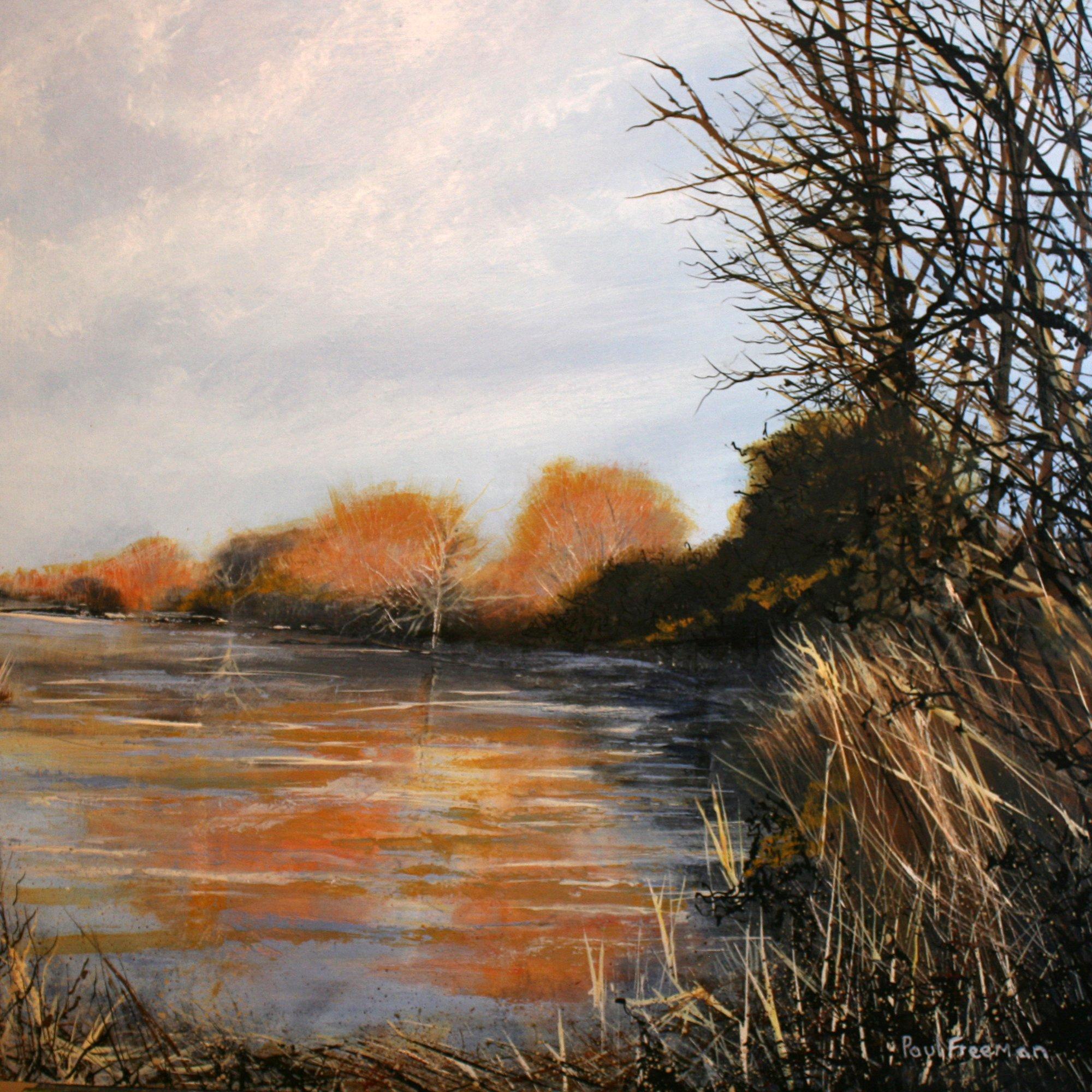 Winter light on the river Original Landscape Art