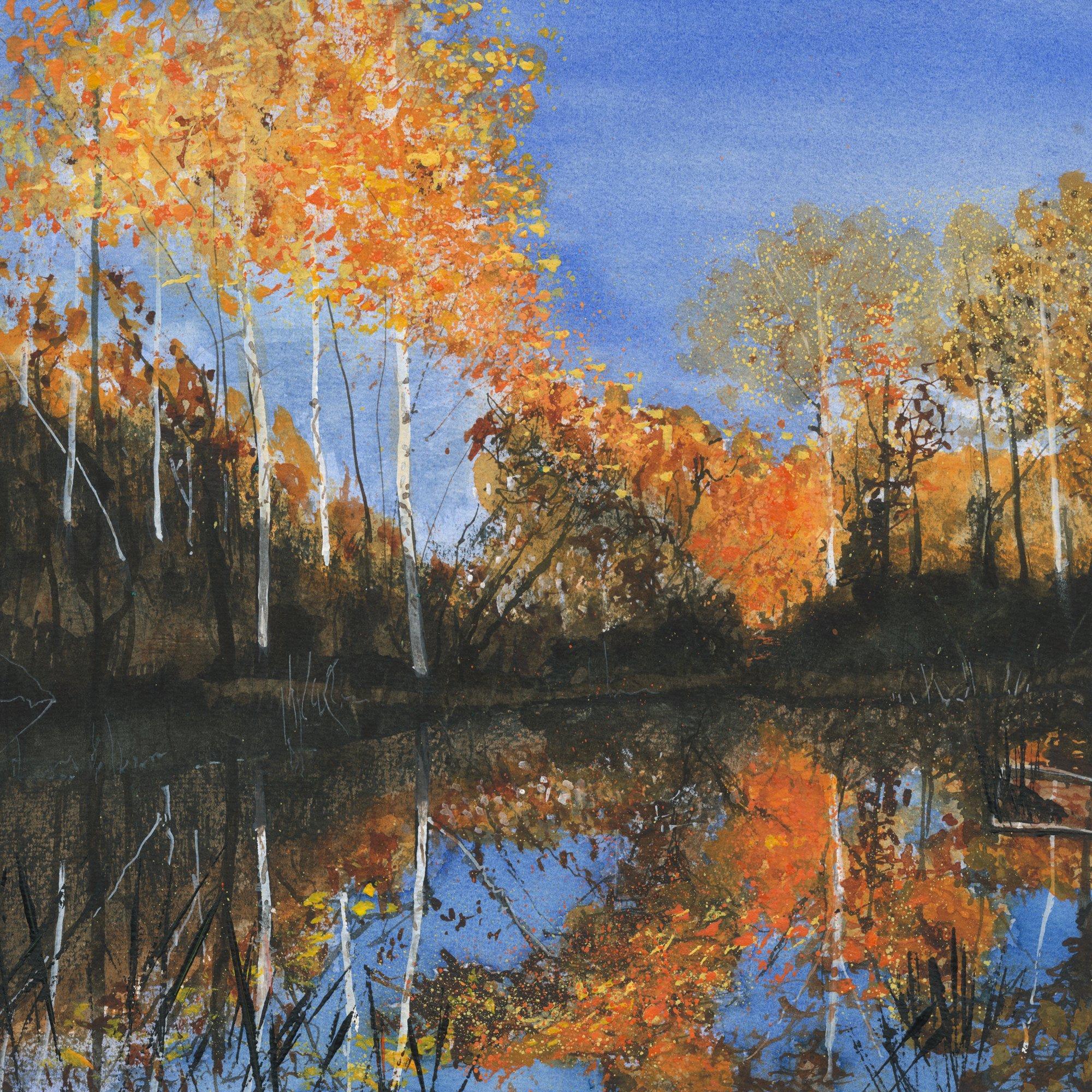 Autumn on a small pond Original Landscape Art