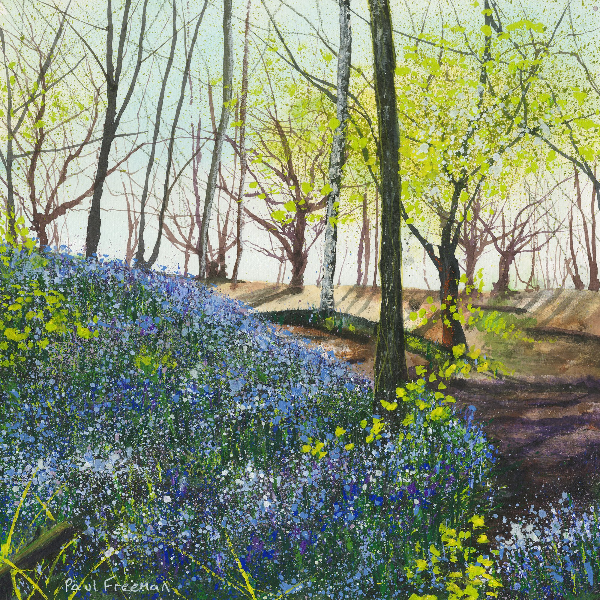 First of the Years Bluebells Original Landscape Art