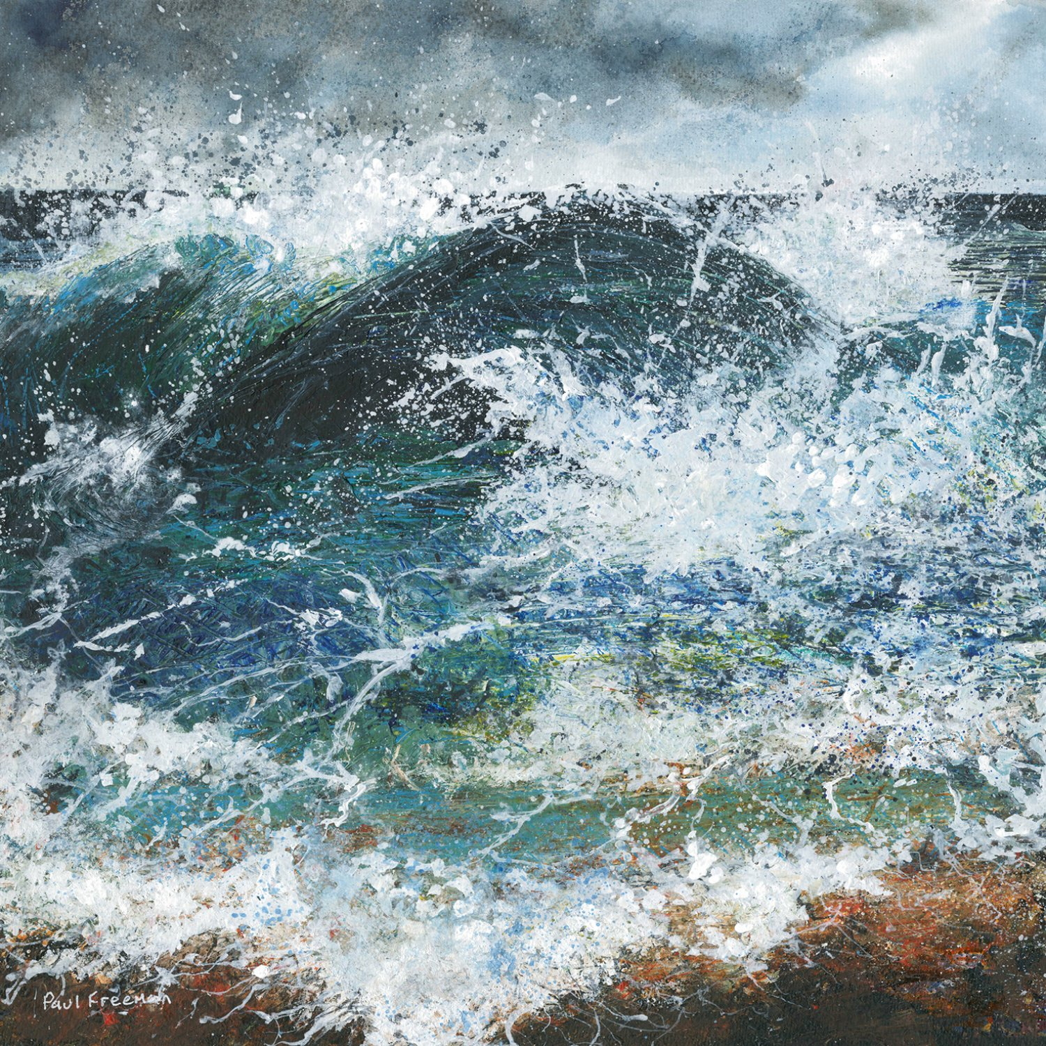 The Angry Sea, abstract Mixed media Painting