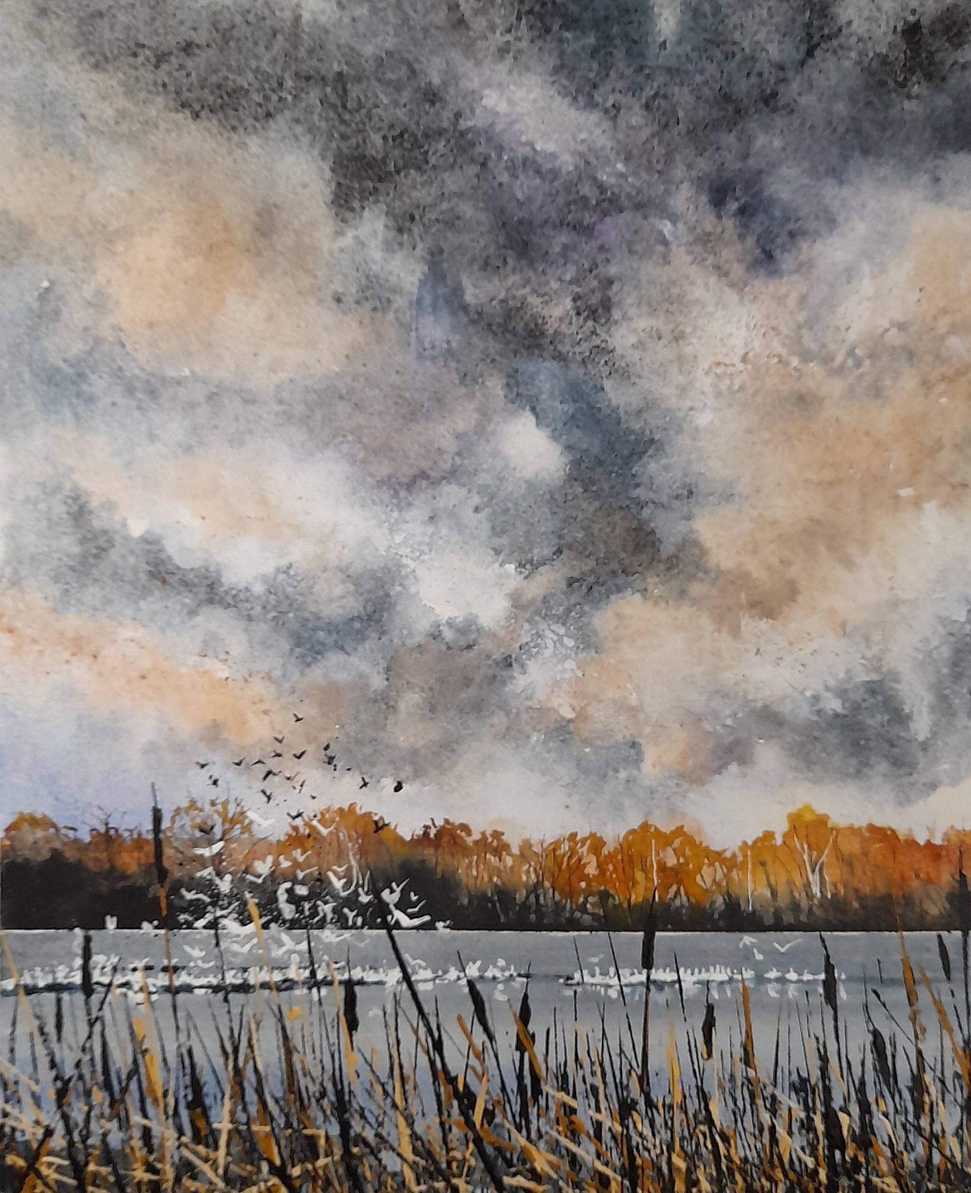 squabbling winter birds Original Landscape Art