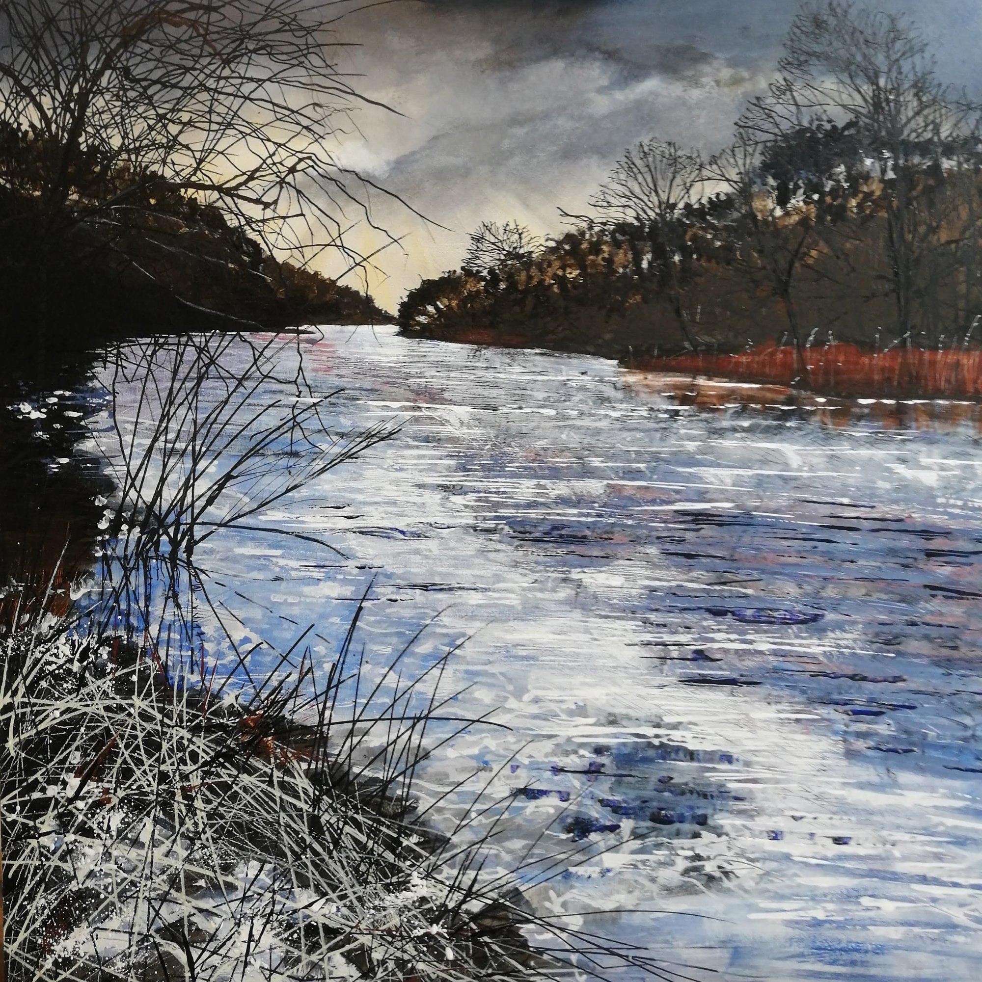 Swollen Winter River Original Landscape Art