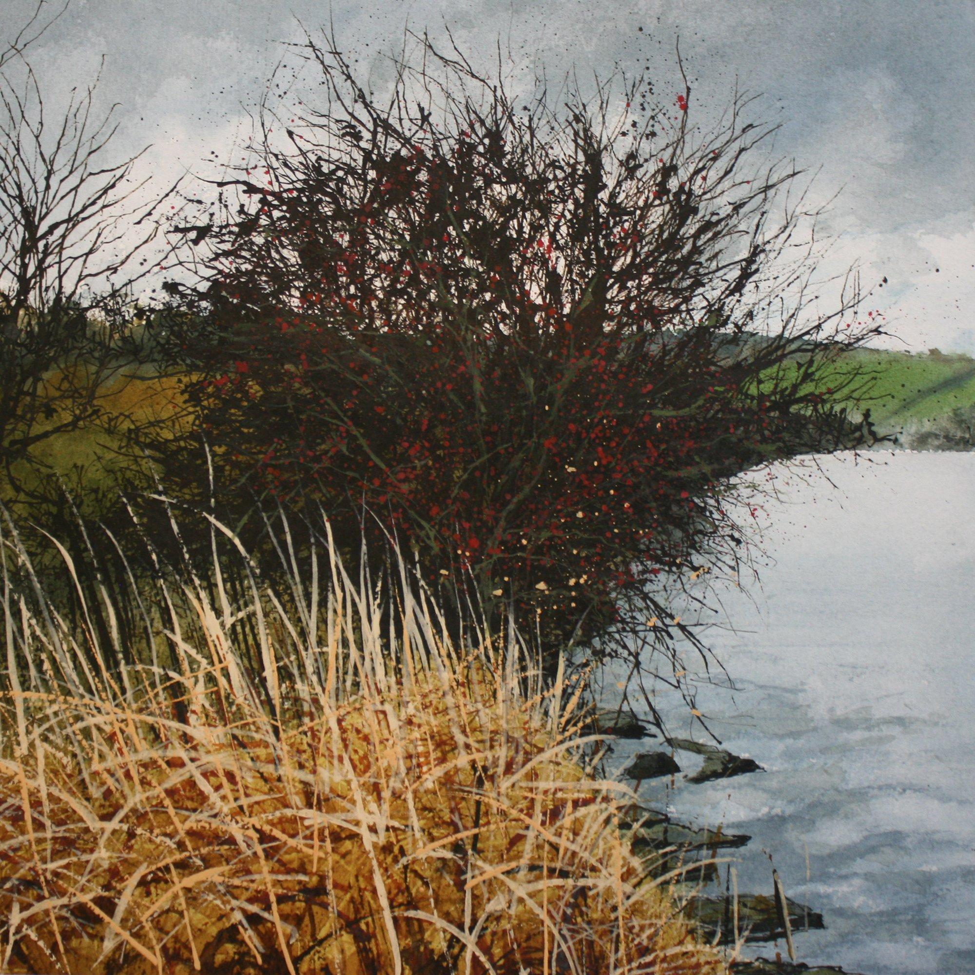 winter reeds and berries Original Landscape Art