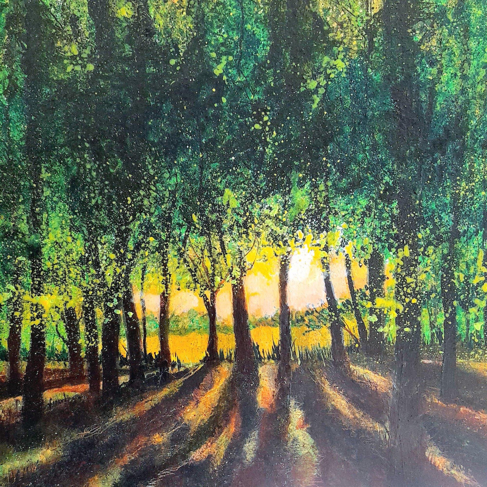 woodland setting sun Original Landscape Art